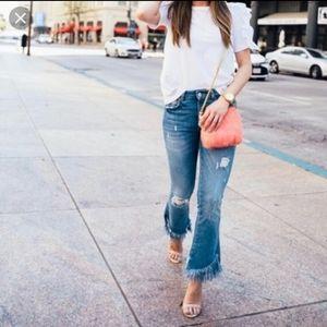 Zara Trafaluc Distressed Fringe Crop Jeans.